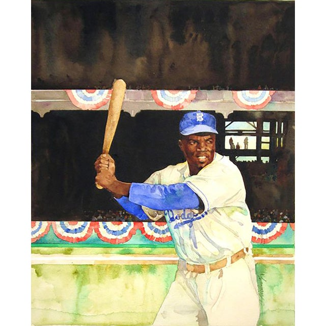"Jerry Pinkney ""Jackie Robinson"" Watercolor Painting - Image 1 of 3"
