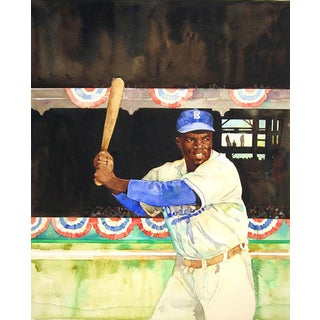 "Jerry Pinkney ""Jackie Robinson"" Watercolor Painting"