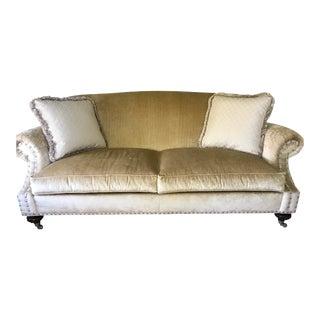 Ethan Allen Beige Velvet Sofa