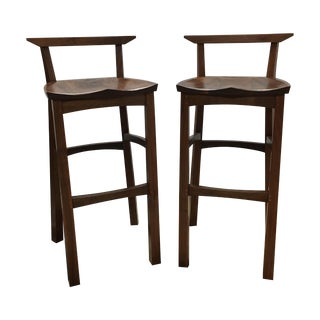 Thos. Moser Walnut Edo Bar Stools - A Pair
