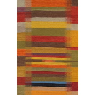Modern Reversable Yellow Wool Kilim III - 5' x 8'