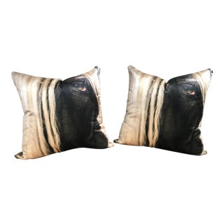 Pair of Printed Velvet Decorative Pillows
