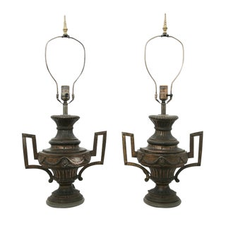 Brass Urn Lamps - A Pair