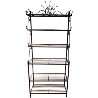 Celestial Iron Baker's Rack Boho Glam Moroccan Modernist Sturdy Plant Rack Stand Bookcase