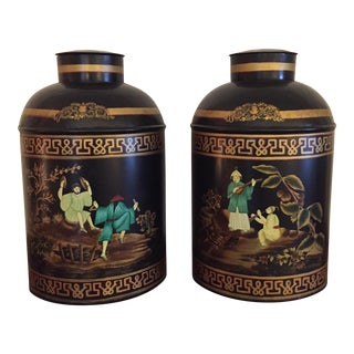 Black English Tole Tea Canisters - A Pair