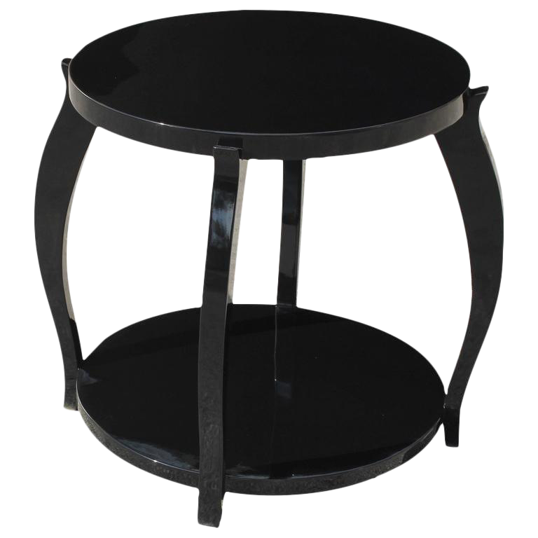 Beautiful French Art Deco Black Lacquer Two Tier Side Table Circa 1940s    Image 1