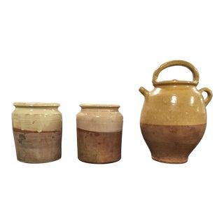 Antique French Pottery Jug & Pottery Cylinder Vases - Set of 3