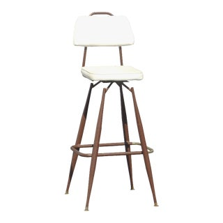 Mid-Century Modern White & Brown Swivel Barstool