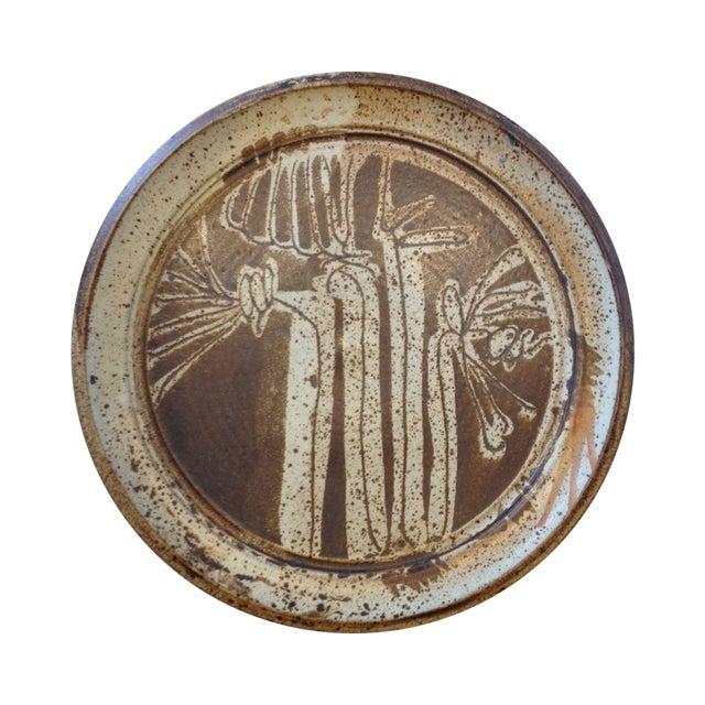 Image of Vintage 1970s Large Pottery Platter