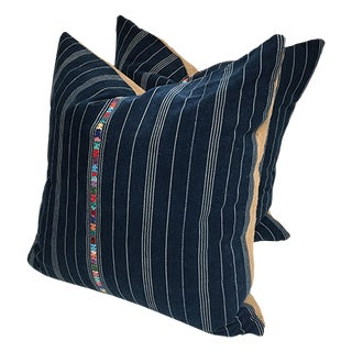 Custom Blue Corte Vintage Fabric Pillows - Pair