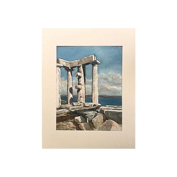 Grecian Ruins Temple of Poseidon Watercolor C.1950 - Image 4 of 5