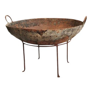 Rustic Primitive Iron Kadai Fire Bowl on Stand