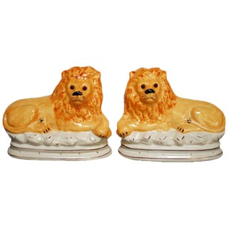 Victorian Staffordshire Recumbent Lions