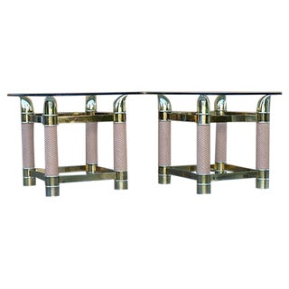 Vintage Brass-Plated Side Tables - Pair