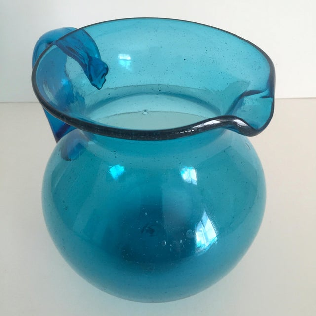 Mid-Century Blue Blenko Glass Pitcher - Image 3 of 11