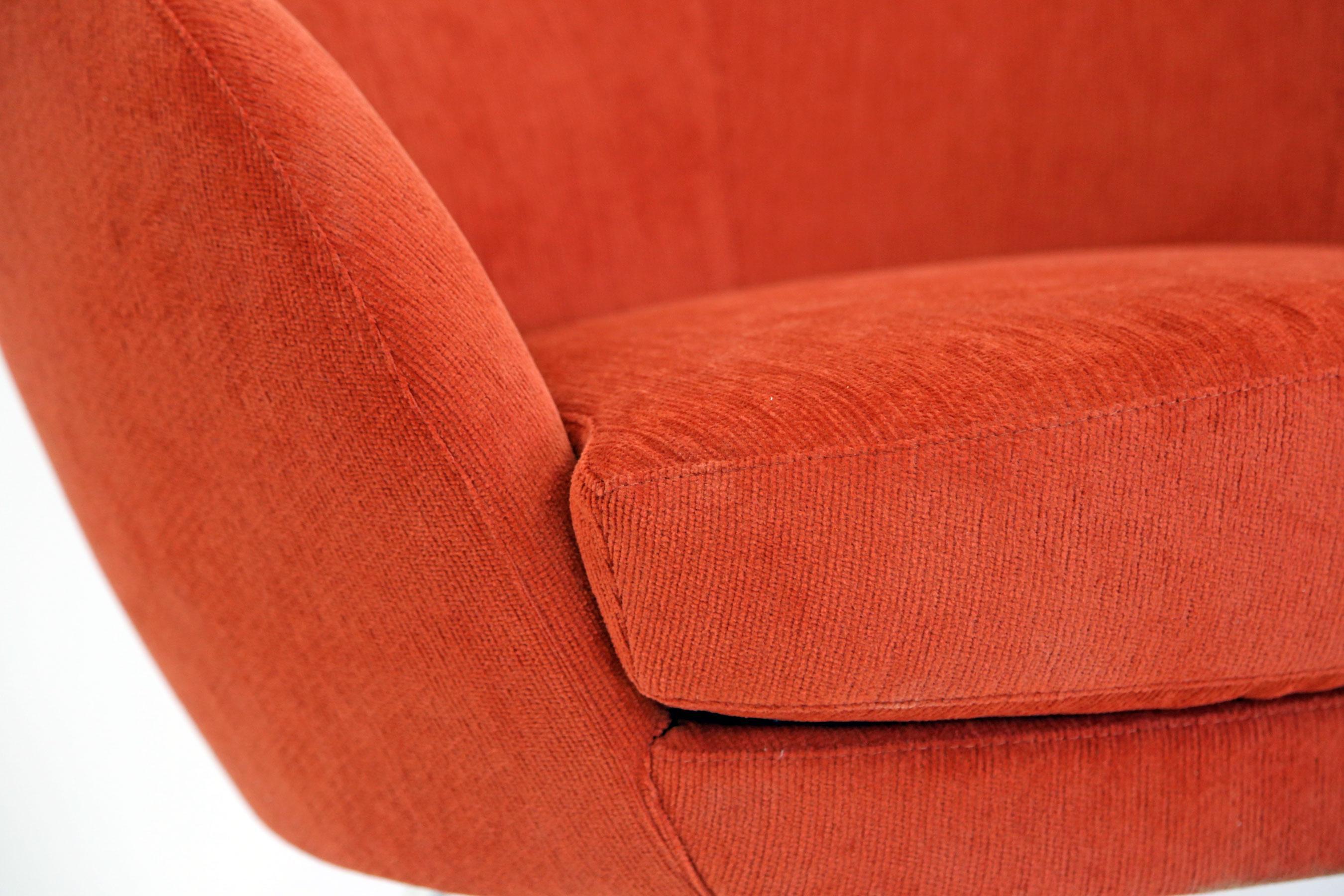 Brazilian modern mannes curved back red club chair chairish