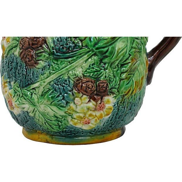 Antique Majolica Green Leaf & Blue Pitcher - Image 5 of 6