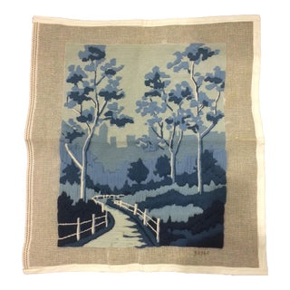 Vintage Blue and White Needlepoint Landscape