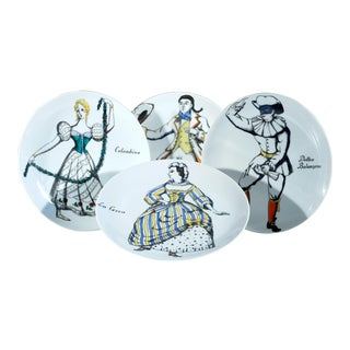 Piero Fornasetti Porcelain Commedia Dell'arte Plates - S/4