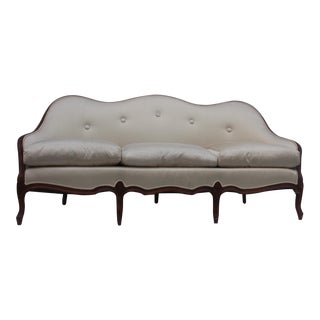Vintage French Provincial Carved Wood Frame Sofa