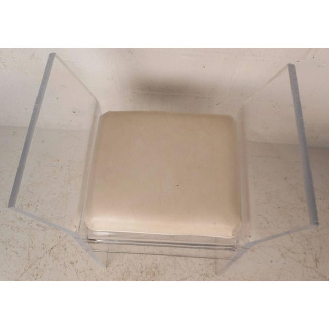 Mid-Century Modern Vinyl and Lucite Bench - Image 6 of 6