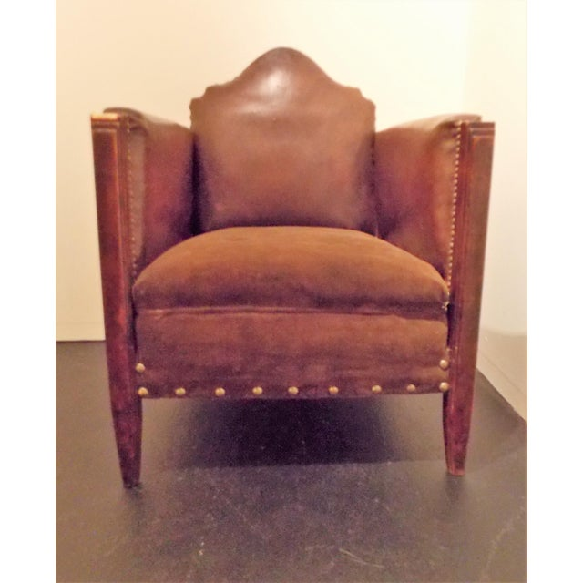 Vintage French Leather Club Chair - Image 3 of 8