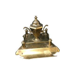 19th C. Brass Desk Accessory with Inkwell
