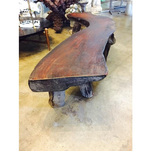 Organic Natural Iron Wood Curved Rustic Bench - Image 9 of 11