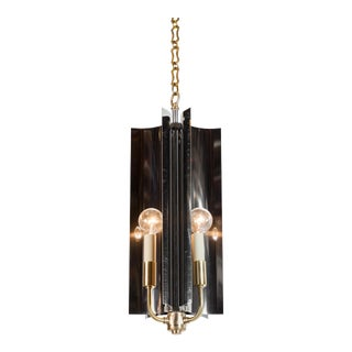 Sculptural Mid-Century Modern Curved Pendant with Reflective Qualities