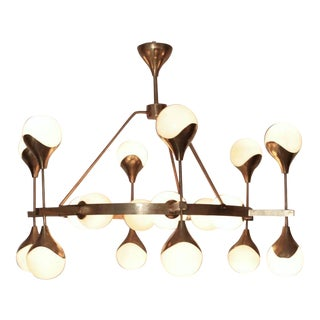 1 of 2 Very Large Murano Glass and Brass Chandelier in the manner of Stilnovo