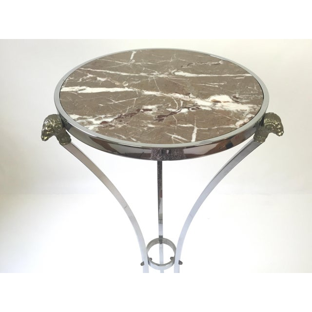 Italian Regency Steel & Marble Rams Head Pedestal - Image 4 of 8