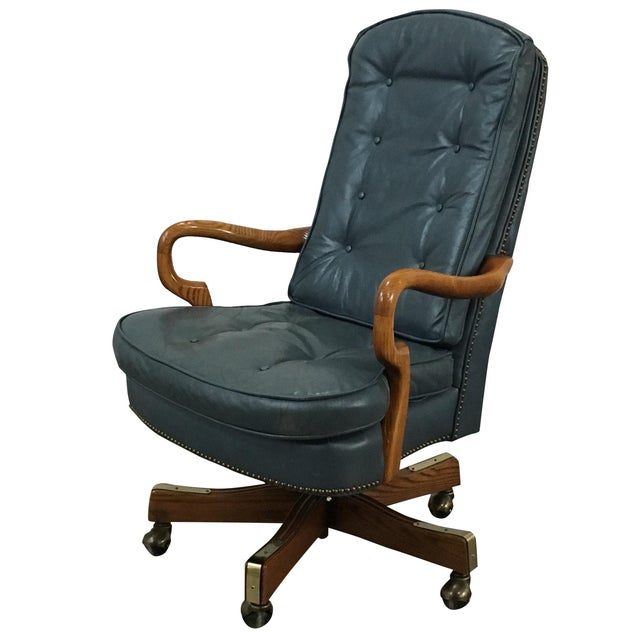 Sea Blue Tufted Leather & Nailhead Office Chair - Image 1 of 6