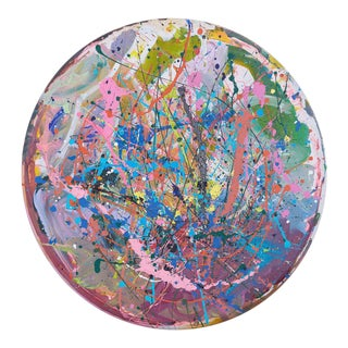 Abstract Round Acrylic and Enamel on Canvas Painting