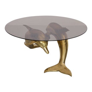 Massive Brass Coffee Table in Form of Two Dolphins