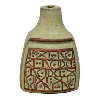 Vintage Beige & Brown Pottery Vase