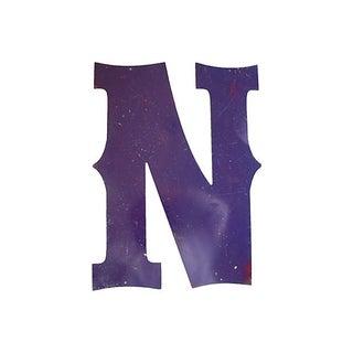 Large Purple Metal Marquee Letter N