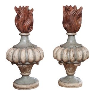 20th Century Pair of French Polychrome Finials