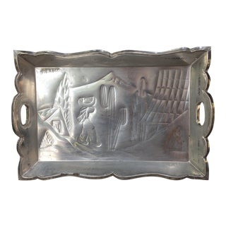 Vintage Carved Mexican Tin Tray