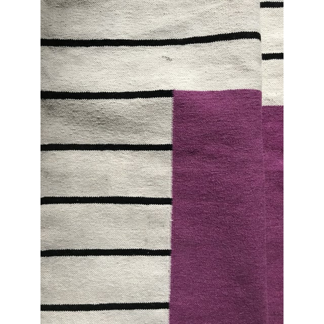 Flatwoven Dhurrie Pink on Black & White Striped Rug - 8′ × 10′ - Image 5 of 6
