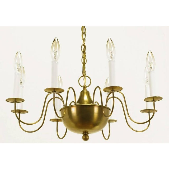 Fine Hand-Spun Brass Eight-Light Chandelier with Delicate Arms - Image 5 of 9