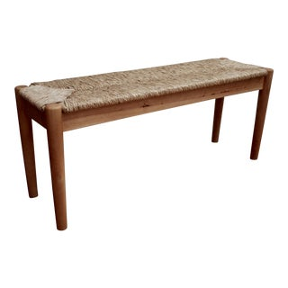 Mel Smilow-Style Woven Modernist Rush Bench