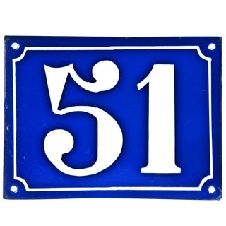 "Vintage French ""51"" Enamel House Number"