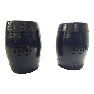 Navy Ceramic Chinese Garden Stools - Pair