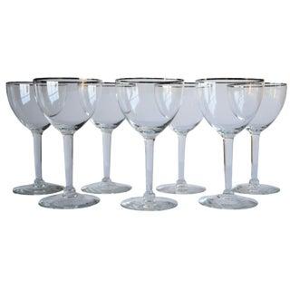 Silver-Rim Wine Glasses, Set of 7