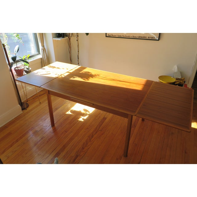 Danish Mid Century Mod Teak Draw Leaf Dining Table - Image 2 of 7