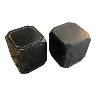 Black Concrete Tables/Stools - A Pair
