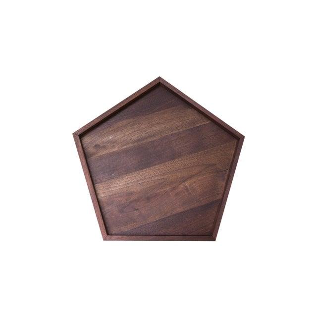 Handmade Walnut Wooden Geometric Pentagon Tray - Image 1 of 6