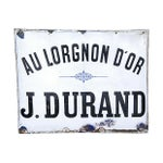 Image of Large Antique French Porcelain & Enamel Sign