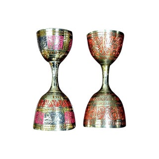 Double Jigger Shot Glass Brass -  Pair