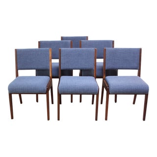 Set of Six Walnut Dining Chairs by Jens Risom